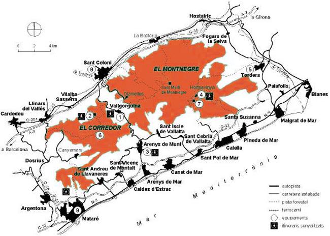 Mapa del Montnegre i Corredor